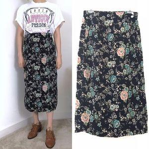 Vintage • 90s Dark Floral Stretch Waist Midi Skirt